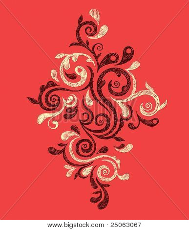 Hand-drawn vintage ornament. Vector illustration.