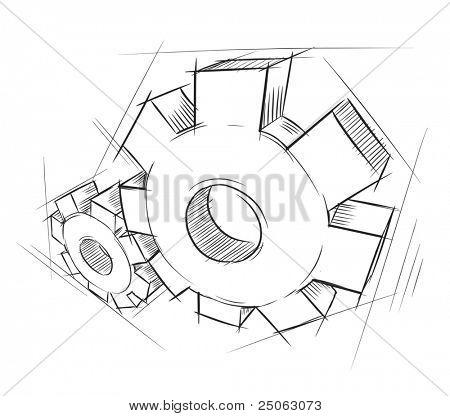 Engrenagens desenhadas à mão. Ilustração vetorial.