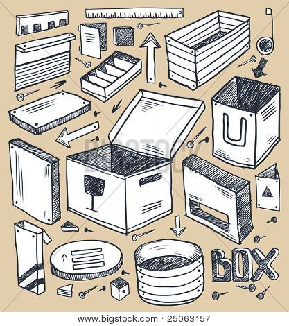 Boxes collection. Vector illustration.