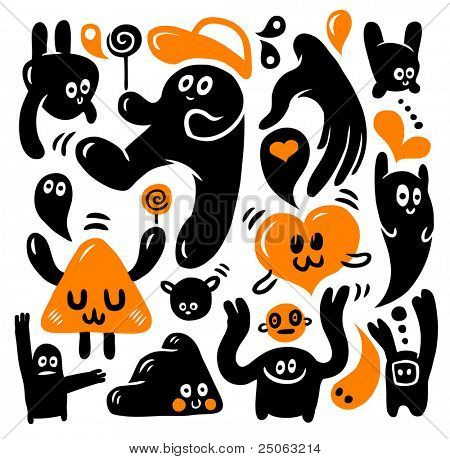 Funny doodles set. Vector illustration.