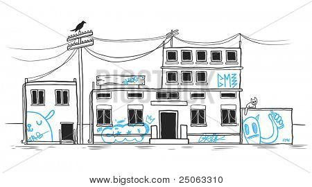 Hand-drawn abandoned house. Vector image.