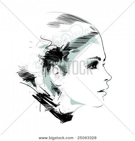 Hand-drawn fashion model. Vector illustration.