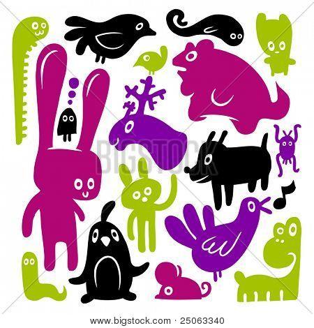 Animal doodles. Vector illustration.