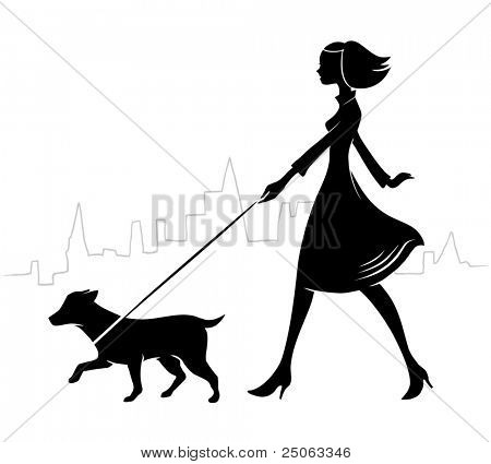 Girl walking a dog. Vector illustration.