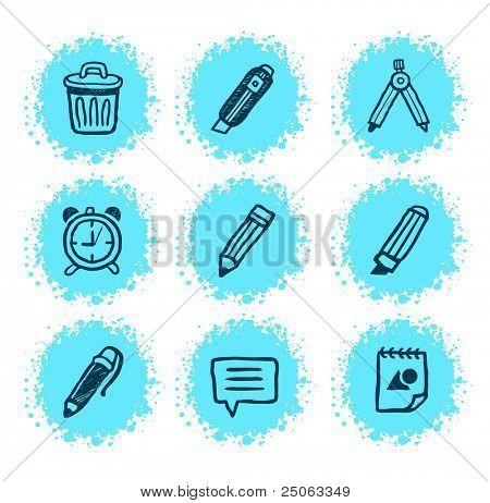 Creative hand-drawn icons. Vector illustration.