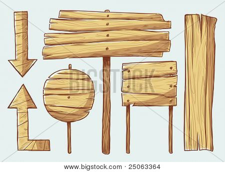 Wooden signs. Vector illustration.