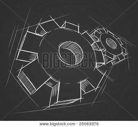 Hand-drawn gears. Vector illustration.