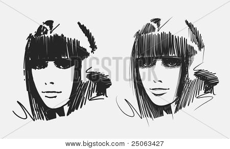 Portraits of two young girls. Vector illustration.