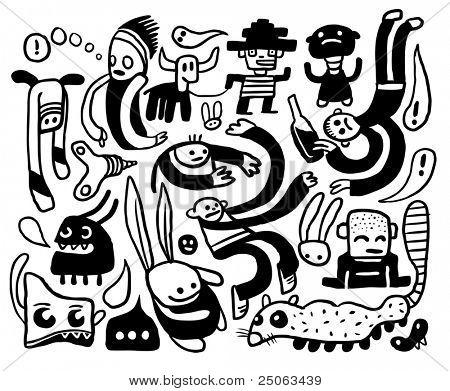 Coleção de desenhos engraçados. Ilustração vetorial.