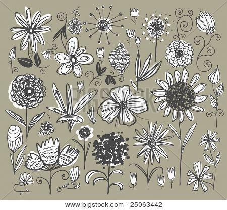 Handgezeichnete Blumen festgelegt. Vektor-Illustration.