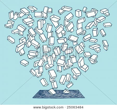 Bricks downfall. Vector illustration.