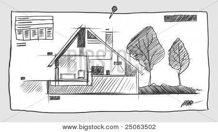 Sketchy blueprint. Vector illustration.