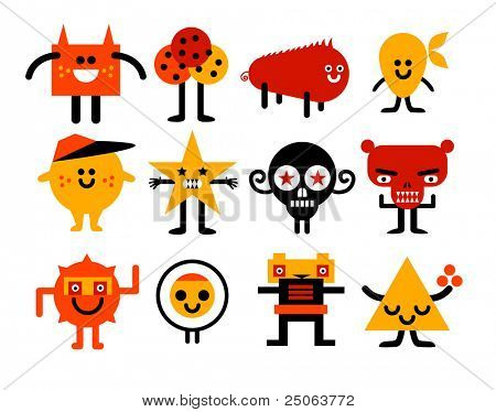 Monsters collection. Vector illustration.