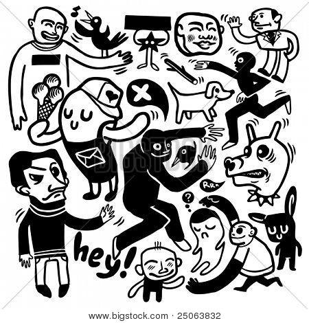 Engraçado doodles. Ilustração vetorial.