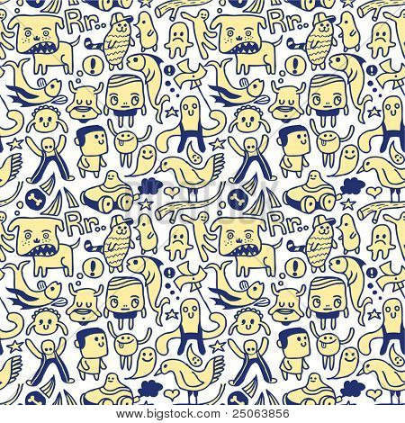 Funny seamless pattern. Vector illustration.