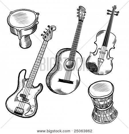 Music instruments collection. Vector illustration.