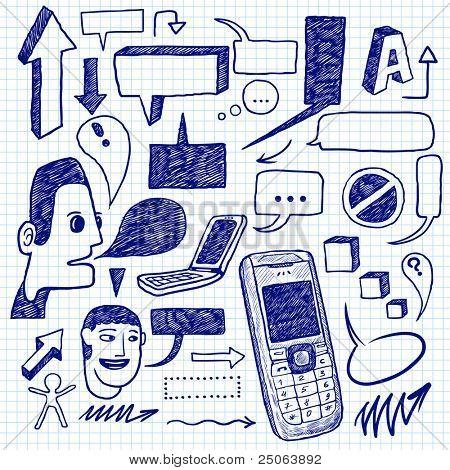 Communication doodles set. Vector illustration.