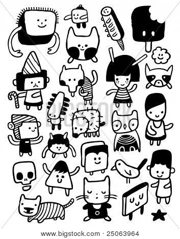 Funny characters and doodles collection. Vector illustration.
