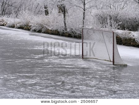 Ice Ring And Hockey Net
