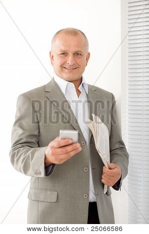 Businessman Mature Smiling Hold Phone Portrait