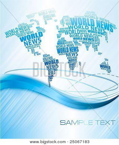 Concepto de noticias del mundo. Mapa del mundo abstracto de palabras de noticias del mundo. Ilustración del vector.