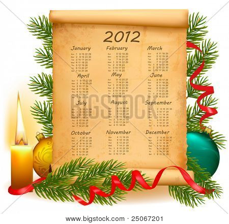 Old paper with calendar 2012. Vector illustration.