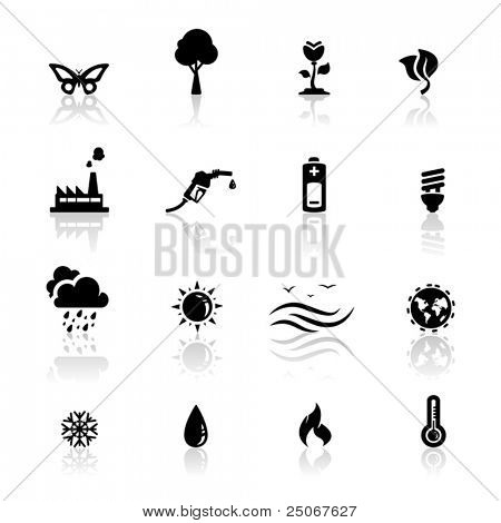 Icons set de medio ambiente y calentamiento global