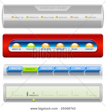 Clean vector, easy to edit web navigation templates 4