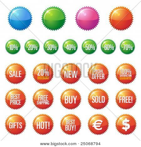 Shiny and glossy sale tag stickers. Vector
