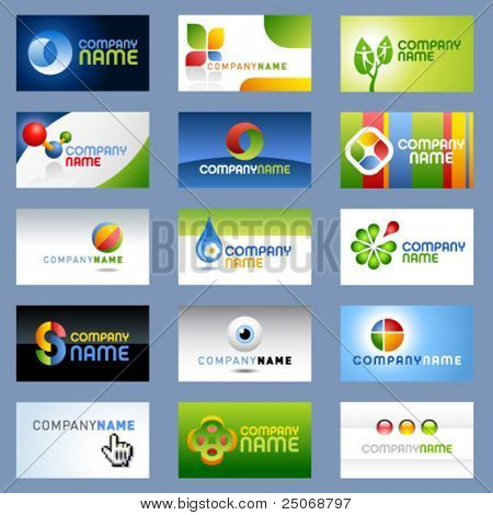 15 clean vector, easy to edit, business cards and logos - 2