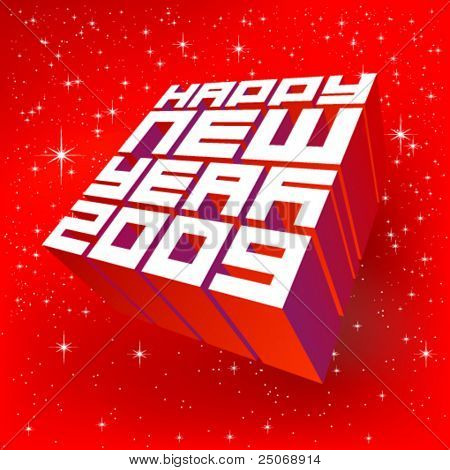 Vector greeting card 2009. Editable