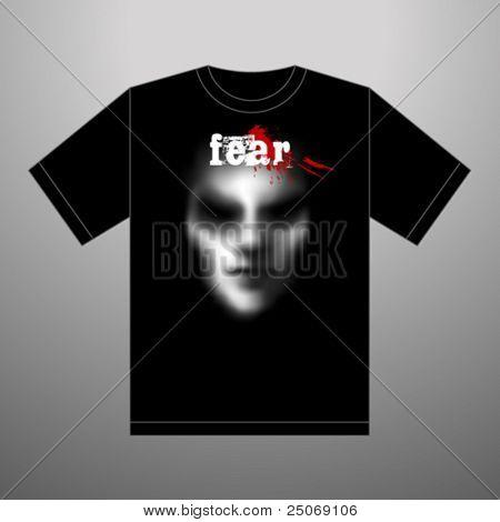 Camiseta de miedo. Vector.