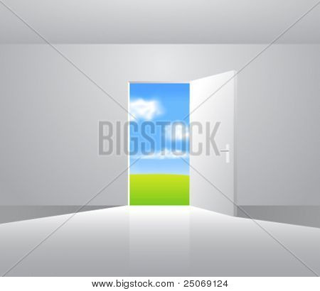 Landscape behind the door. Vector. Change the background as you wish.