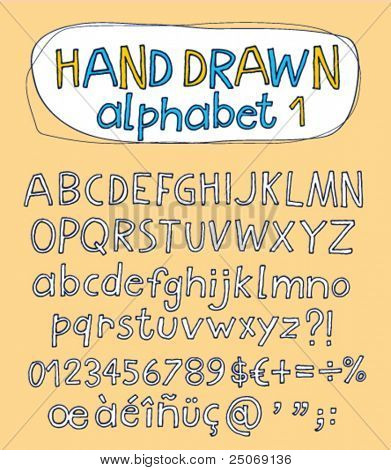 Vector hand drawn alphabet for designer 1. Change easily the colors as you wish.
