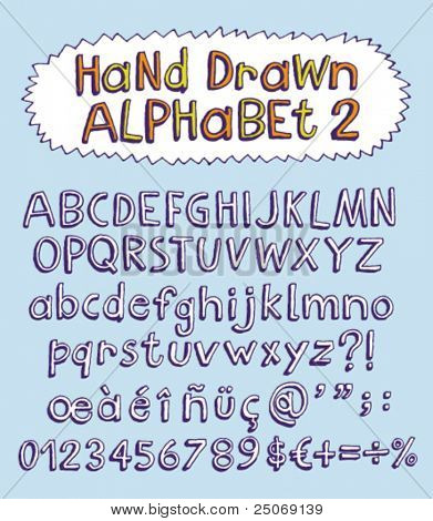 Vector hand drawn alphabet for designer 2. Change easily the colors as you wish.