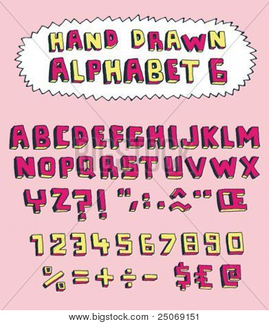 Vector hand drawn alphabet for designer 6. Change easily the colors as you wish.