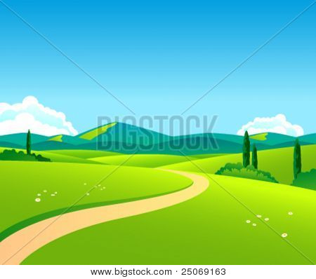 Vector countryside landscape by day
