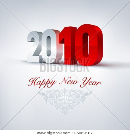 Vector greeting card 2010. Editable