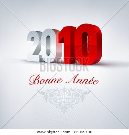 2010 Happy New Year in french. Vector.