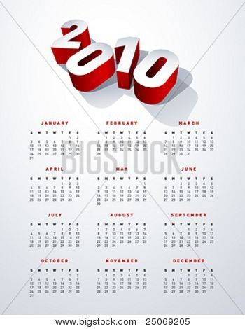 2010 english calendar in US letter. Vector. No mesh.