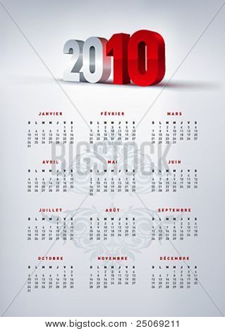 2010 french calendar in A4 size. Vector.