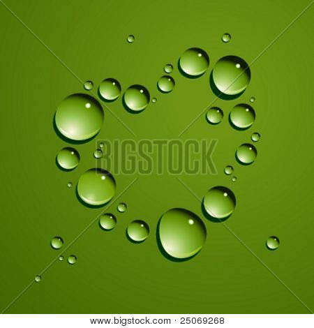 Vector dew drops heart. No mesh.