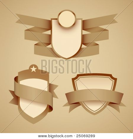 Crests with banners. Vector. No mesh.