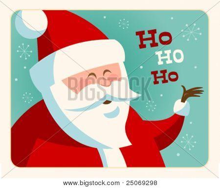 Tarjeta de Navidad con Santa. Vector. Editable.