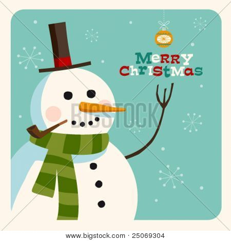 Christmas card with snowman. Vector. Editable.