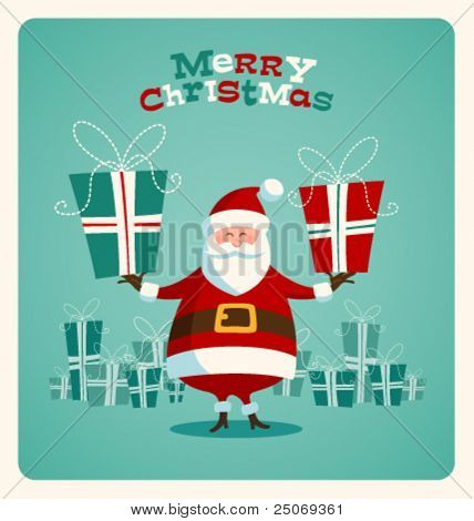Christmas card with Santa. Vector. Editable