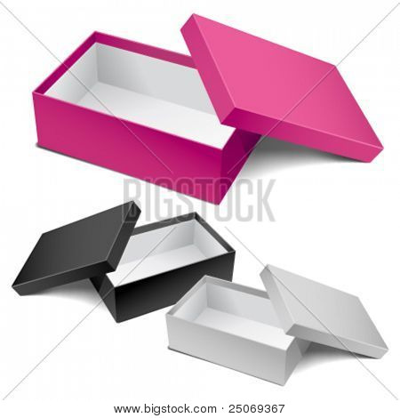 Three realistic empty boxes. Editable vector.