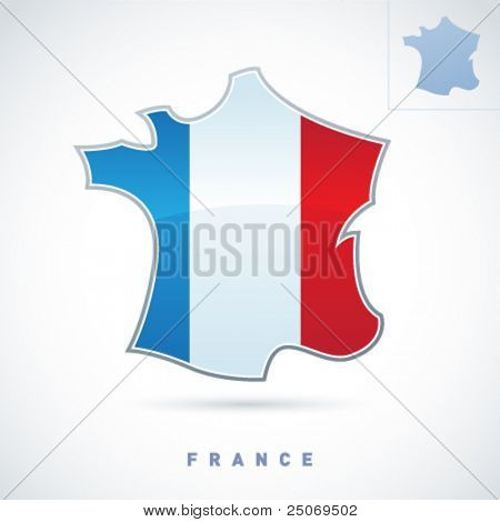 Stylized map of France. Vector. Editable.
