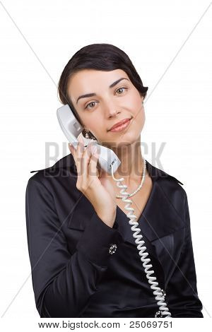 Business Woman With A Telephone Receiver In Hand