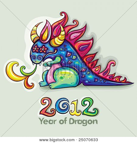Oriental  New Year theme: Cute, fabulous, magical, blue and funny dragon, spinning rainbow magic fire.  Star eyes